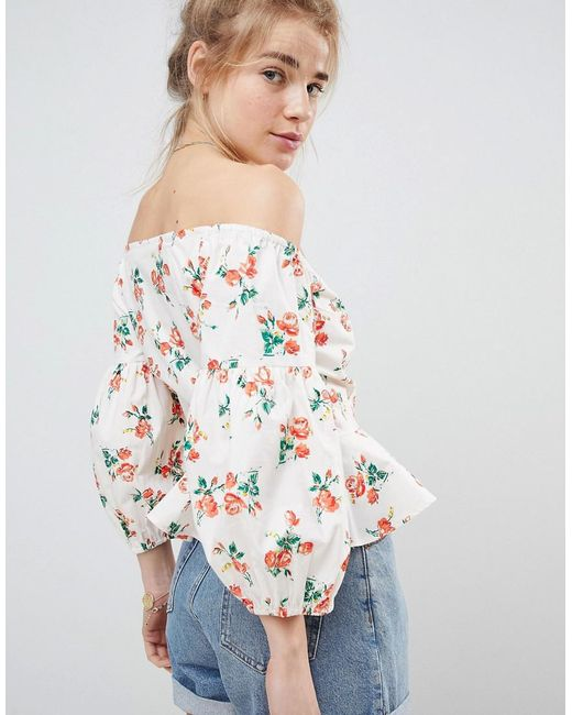 Discount Order DESIGN Off Shoulder Cotton Wrap Top In Pretty Floral - Multi Asos New Arrival Fashion Z2H1Yca