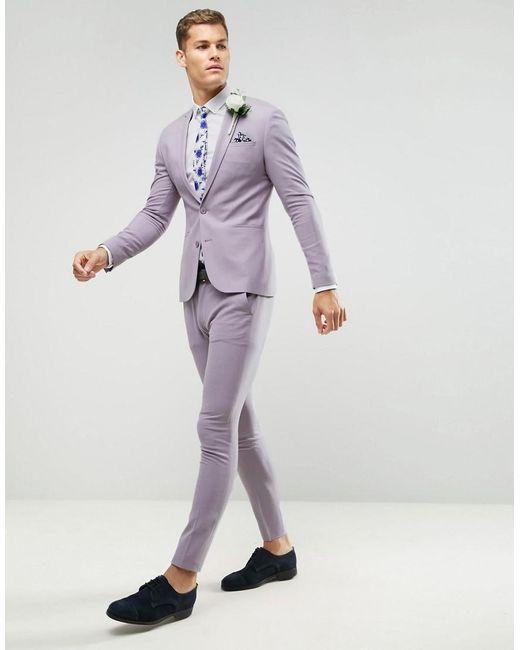 Lyst Asos Super Skinny Suit Pants In Dusky Lilac In