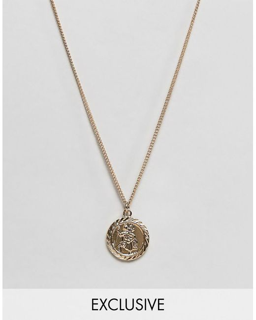 Reclaimed (vintage) - Metallic Inspired St Christopher Necklace In Gold Exclusive At Asos for Men - Lyst