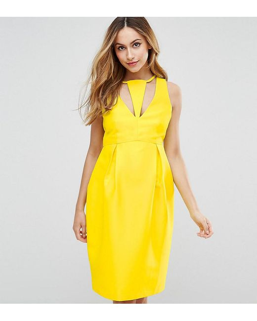 83c674fdc3ab ASOS - Yellow Cut Out Neck Pencil Dress - Lyst ...