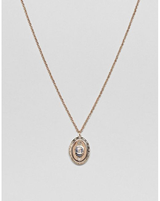 ASOS - Metallic Vintage Style Necklace With Locket Pendant for Men - Lyst