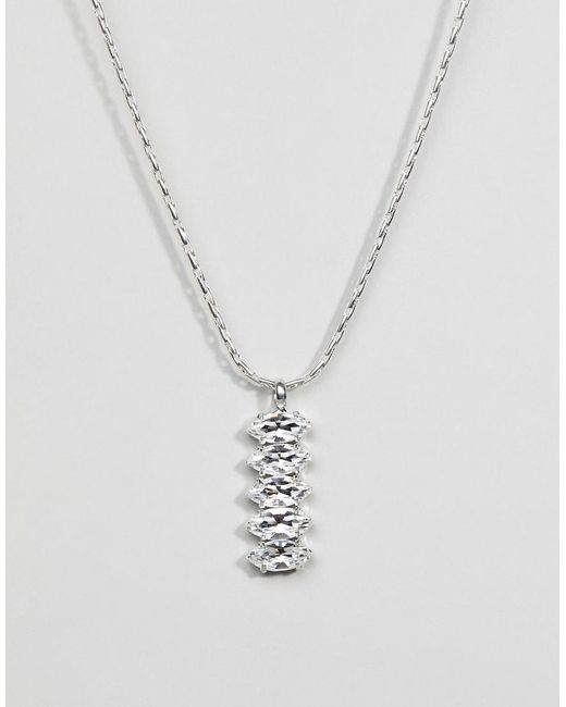 Krystal London - Metallic Swarovski Crystal Stepped Marquees Pendant On Chain - Lyst