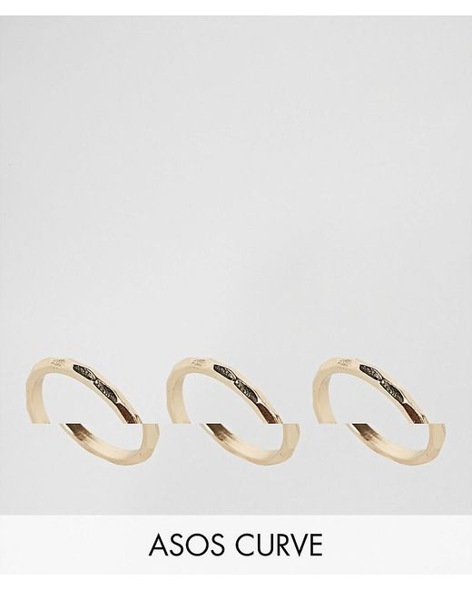 ASOS - Metallic Pack Of 3 Faceted Rings - Lyst
