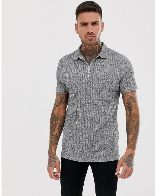 d1b7956d ASOS - Gray Polo Shirt In Interest Rib With Zip Neck In Grey for Men ...