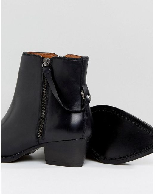 London Larry Black Leather Ankle Boots - Black leather Hudson