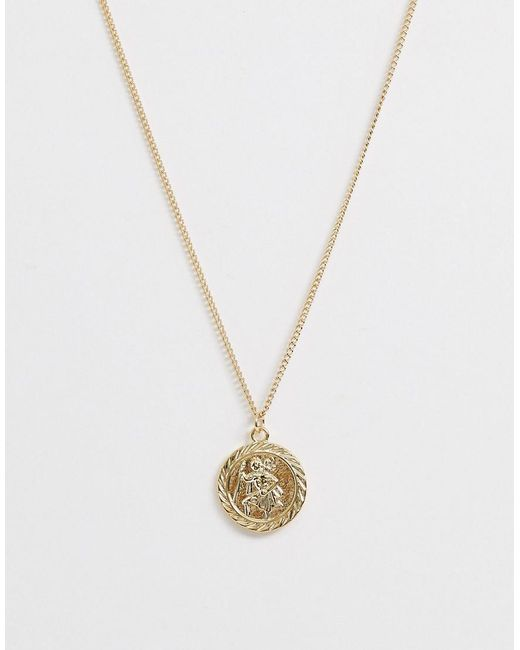 ASOS Metallic Necklace With St Christopher Coin Pendant In Gold Tone