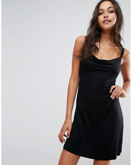 ASOS | Black Mini Cowl Front Swing Dress | Lyst