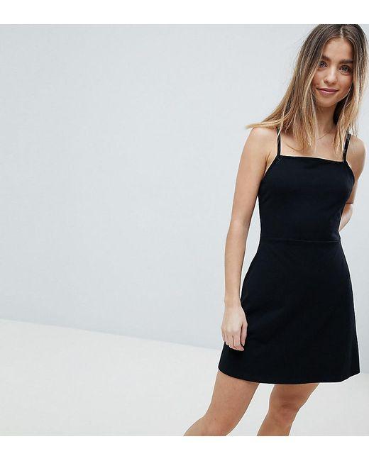 580faa19 ASOS - Black Asos Design Petite Mini Square Neck Skater Dress - Lyst ...