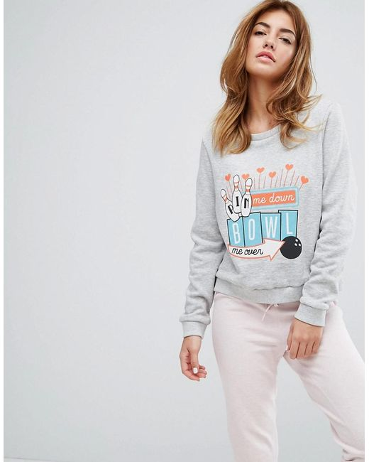 MINKPINK | Gray Bowl Me Over Night Lounge Jumper | Lyst