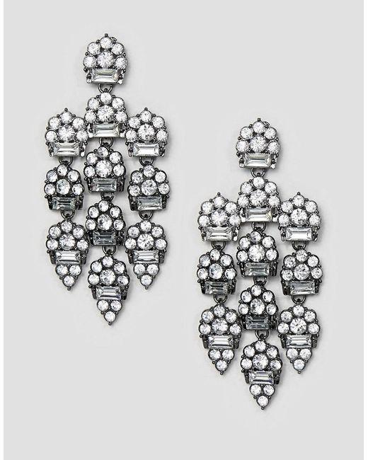 ASOS - Metallic Earrings In Luxe Crystal Design In Gunmetal - Lyst