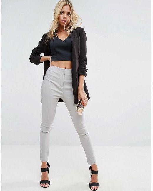 ASOS - Metallic Asos High Waist Trousers In Skinny Fit - Lyst