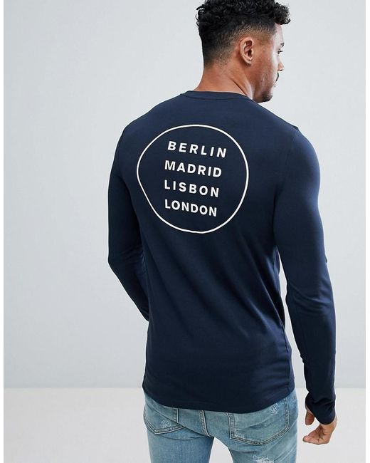 ASOS - Blue Design Muscle Long Sleeve T-shirt In Navy With City Back Print for Men - Lyst