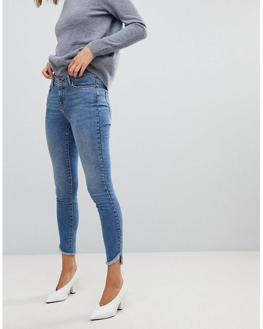 Vero Moda - Blue Skinny Jean With Raw Hem - Lyst