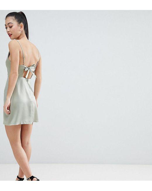 280fb712fd ASOS - Green Asos Design Petite Cowl Neck Mini Dress - Lyst ...