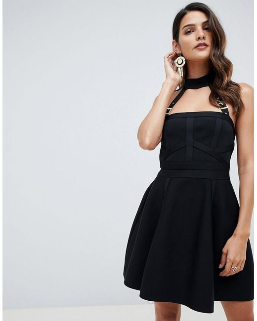 882dea658d9b ASOS - Black Bandage Skater Mini Dress With Halter Neck Buckle Straps - Lyst  ...