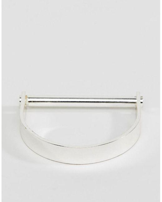 Pilgrim - Metallic Silver Plated Chunky Structured Bracelet - Lyst