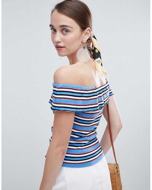 667dd6b599ff6 ... New Look - Blue Stripe Bardot Top - Lyst