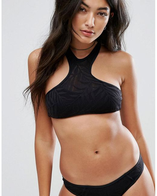 Rip Curl - Black Rip Curl Las Palmas High Neck Bikini Top - Lyst