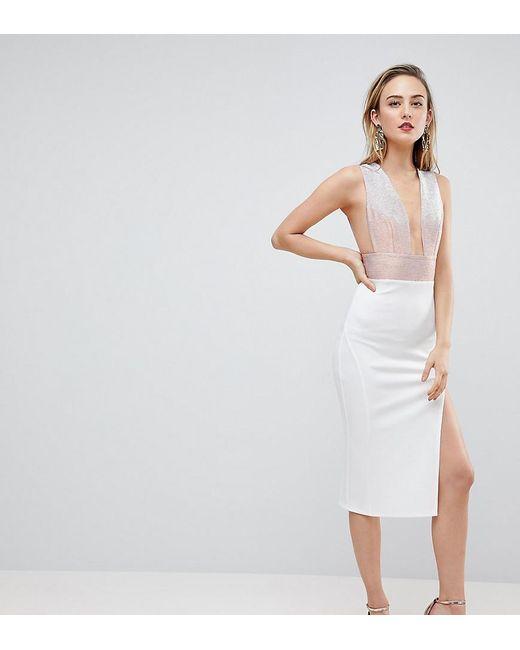 ASOS - White Deep Plunge Ombre Sparkle Bodycon Midi Dress - Lyst ... 7536a0232