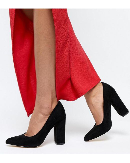 Truffle Collection - Black Pointed Block Heels - Lyst