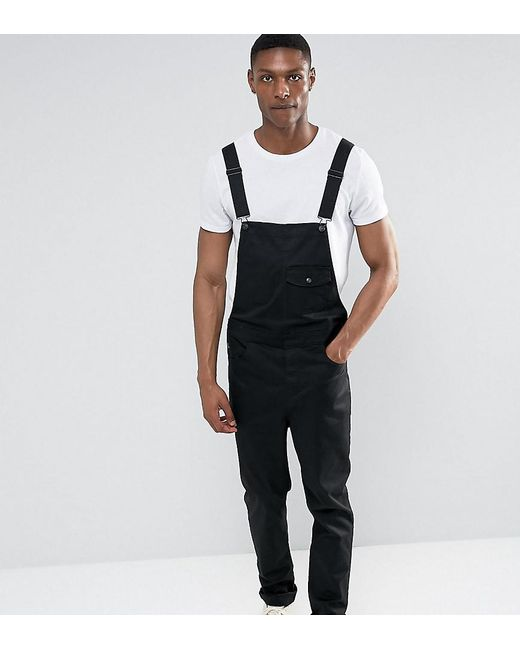 61e553a033bd Lyst - ASOS Tall Chino Dungarees In Black in Black for Men
