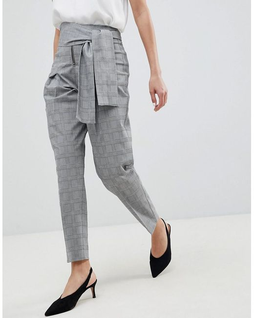 DESIGN tailored tapered check trouser with obi self tie and exposed zip - Check Asos MQ3kP