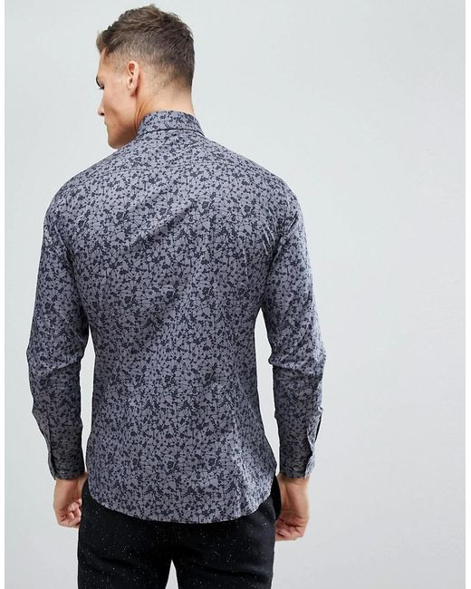 Clearance Perfect Factory Outlet Mini Floral Slim Fit Shirt - Blue French Connection Collections Cheap Price With Paypal For Sale Free Shipping From China FJxTFJi