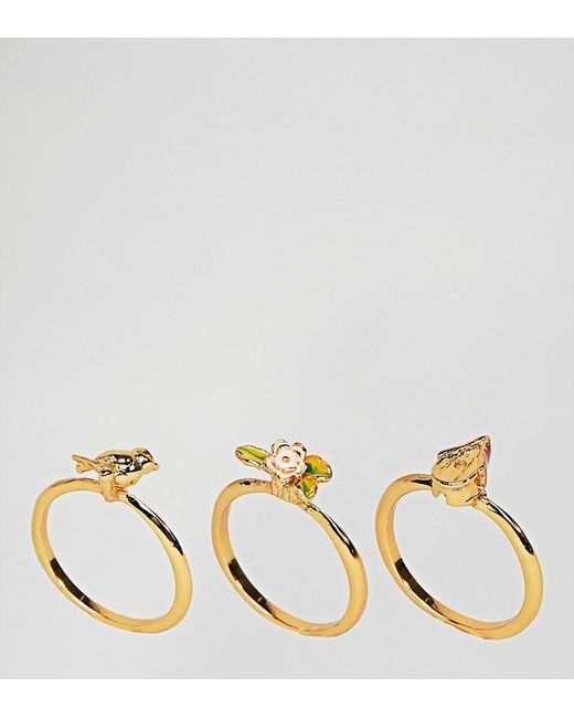 Bill Skinner - Metallic Gold Plated Birdhouse Stacking Rings - Lyst