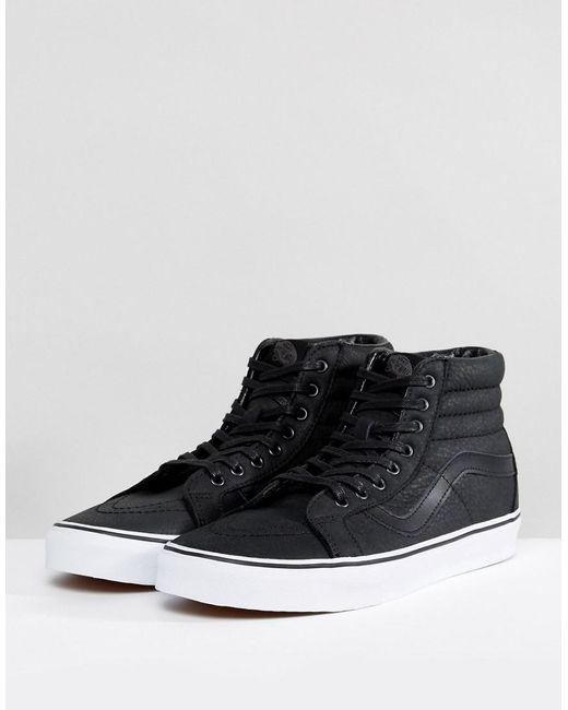 b4cc5a9564259a ... Vans - Black Sk8-hi Reissue Premium Leather Trainers for Men - Lyst