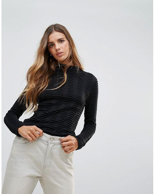 French Connection - Black Mozart Allover Laddered Jumper - Lyst