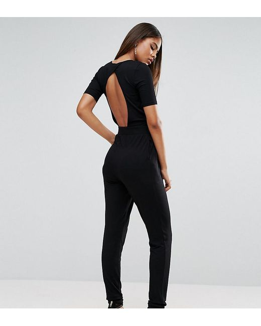 ASOS - Black Wrap Front Jersey Jumpsuit With Short Sleeve - Lyst