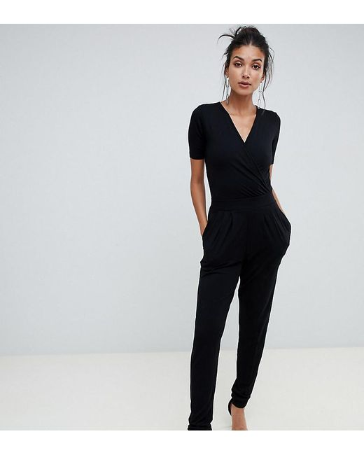b0e8207cf6f ASOS - Black Asos Design Tall Wrap Front Jersey Jumpsuit With Short Sleeve  - Lyst ...