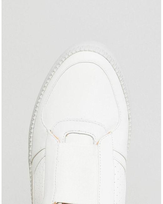 White Elasticated Front Leather Trainers - White Diesel e1Ir3kI6