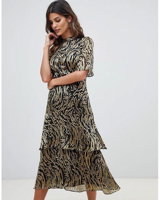 34a512b5a2b Whistles - Metallic Ivanna Reed Devore Dress - Lyst ...