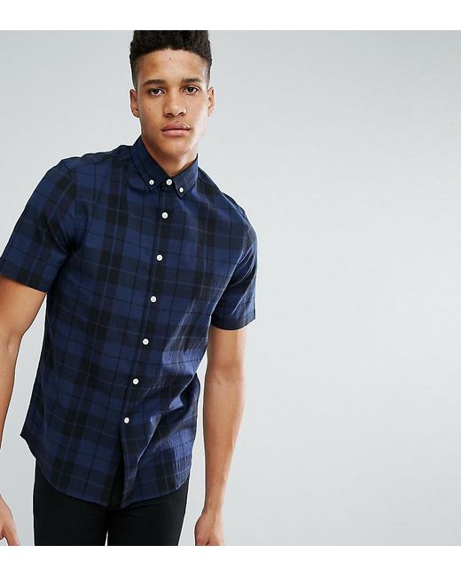 Lyst asos tall stretch slim check shirt in blue in blue for Slim and tall shirts