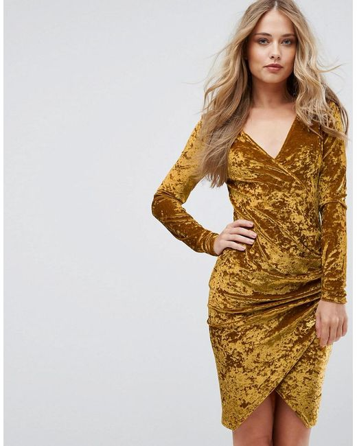 c217cd03f1 Club L - Yellow Plunge Wrap Front Ruched Side Dress In Velvet - Lyst ...