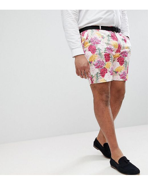 ASOS DESIGN - Asos Plus Wedding Skinny Smart Shorts In Pink Floral Print for Men - Lyst