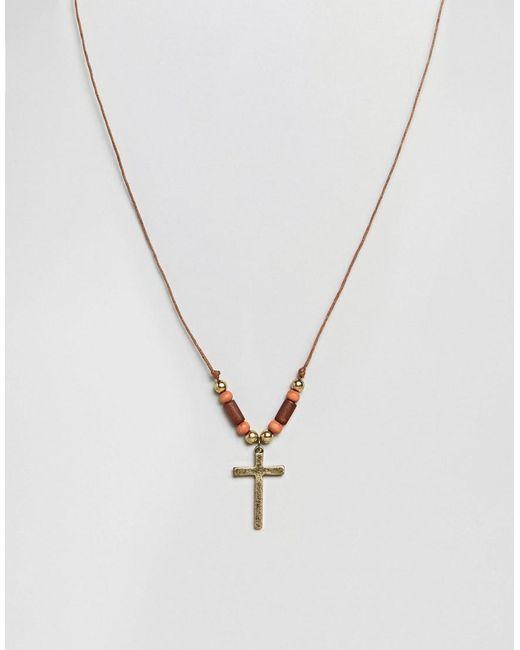 Classics 77 - Brown Cross Pendant Necklace for Men - Lyst