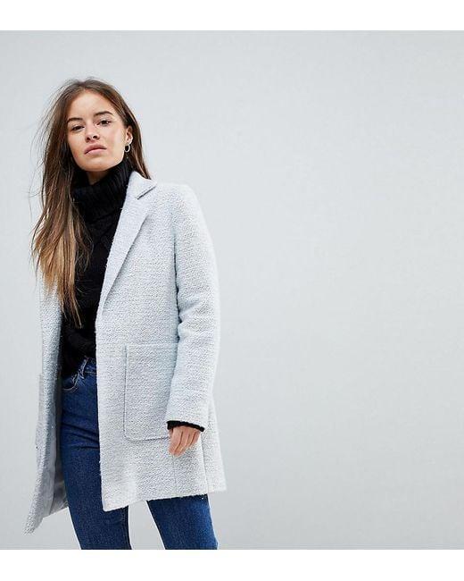 ASOS - Gray Slim Coat In Texture - Lyst