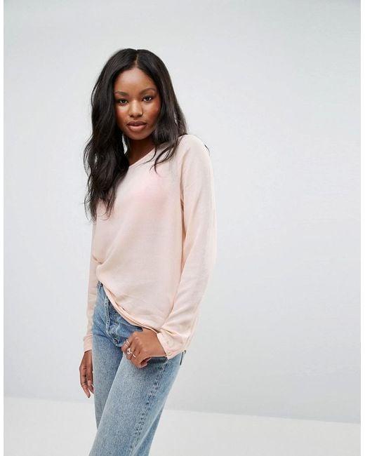 Vero Moda - Blue Long Sleeve Round Neck T-shirt - Lyst