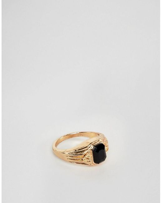 ASOS - Metallic Vintage Style Signet Ring In Gold Tone With Black Stone for Men - Lyst