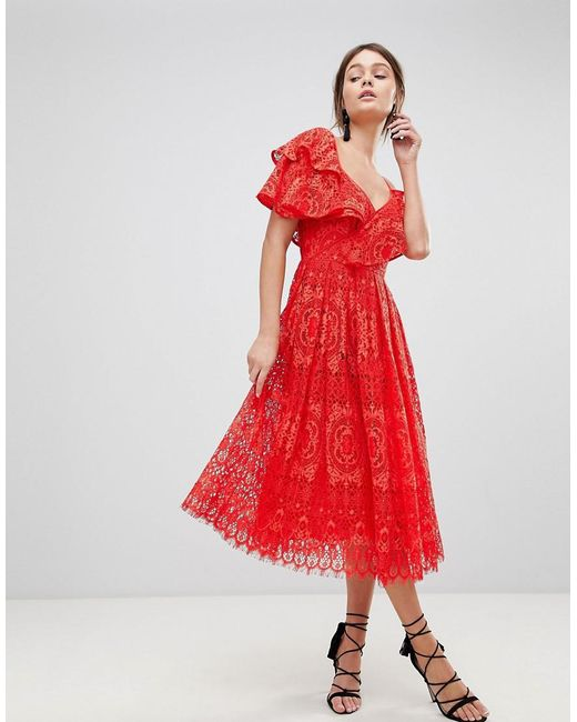 ASOS - Red Ruffle One Shoulder Lace Prom Dress - Lyst
