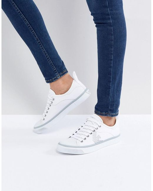 Emporio Armani - White Denim Side Eagle Logo Lace Up Plimsoll - Lyst