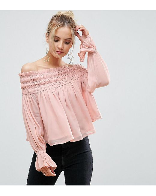 ASOS | Pink Off Shoulder Top With Shirring | Lyst
