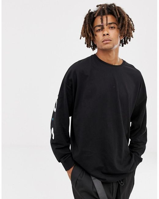 a8b22839a18632 ... ASOS - Black Friends Oversized Long Sleeve T-shirt for Men - Lyst