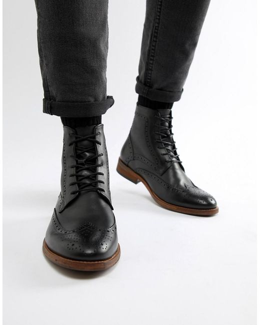 8c2b8cb148f Men's Belford Leather Brogue Lace Up Boots In Black