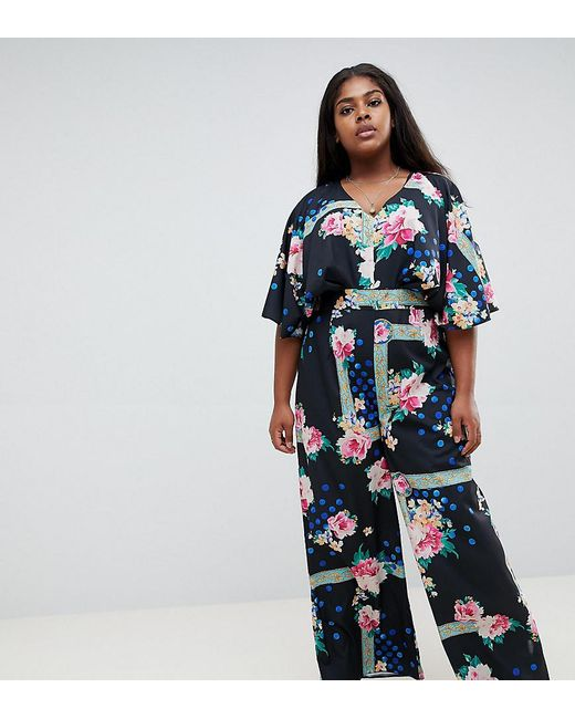 7b4eb3d32c ASOS - Blue Asos Design Curve Jumpsuit With Overlay And Wide Leg In Floral  Print ...