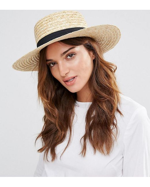 South Beach - Natural Straw Boater Hat With Black Band - Lyst