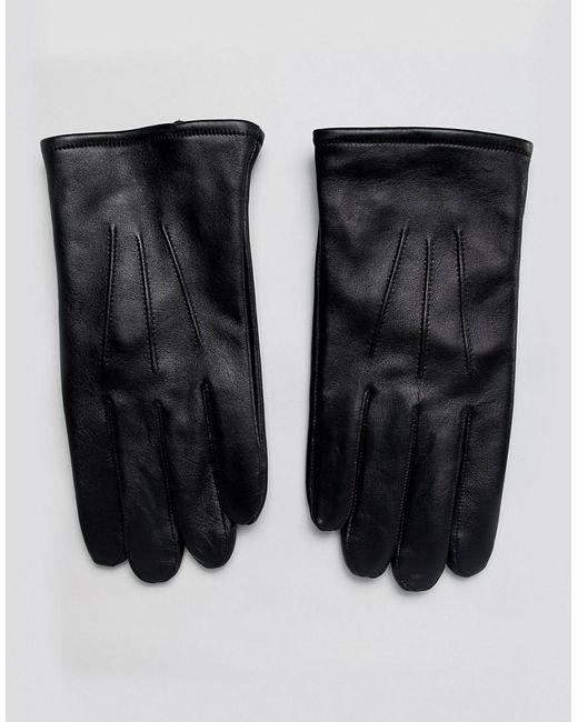 b95a3d32f775b ASOS - Black Schwarze Touchscreen-Handschuhe aus Leder for Men - Lyst ...