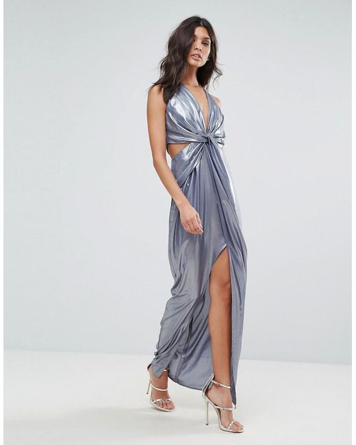 ASOS - Blue Asos Metallic Cami Twist Front Maxi Dress - Lyst